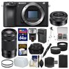 Sony Alpha A6500 4K Wi-Fi Digital Camera Body with 16-50mm & 55-210mm Lenses + 64GB Card + Case + Flash + Battery & Charger + Tripod Kit ** Kit Includes 18 Items with all Manufacturer-supplied Accessories + Full USA Warranties: 1) Sony Alpha A6500 4K Wi-Fi Digital Camera Body 2) Sony Alpha E-Mount 16-50mm f/3.5-5.6 OSS PZ Zoom Lens 3) Sony Alpha E-Mount 55-210mm f/4.5-6.3 OSS Zoom Lens (Black) 4) Precision Design 1500 DSLR System Camera Case 5) Transcend 64GB SecureDigital SDXC 300x UHS-I Class 10 Memory Card 6) Precision Design DSLR300 High Power Auto Flash 7) Precision Design PD-FD300 Bounce Flash Diffuser 8) Spare NP-FW50 Battery for Sony 9) Battery Charger 10) PD 2.5x Tele + .45x Wide Lens 11) Vivitar HF-TR59 59in Tripod 12) Vivitar 40.5mm UV Glass Filter 13) Vivitar 49mm UV Glass Filter 14) PD 6pc Complete Cleaning Kit 15) Sony Lenspen Cleaning Pen 16) PD SD/SDHC MicroSD Reader 17) PD 8 SD Card Memory Card Case 18) LCD Screen Protectors