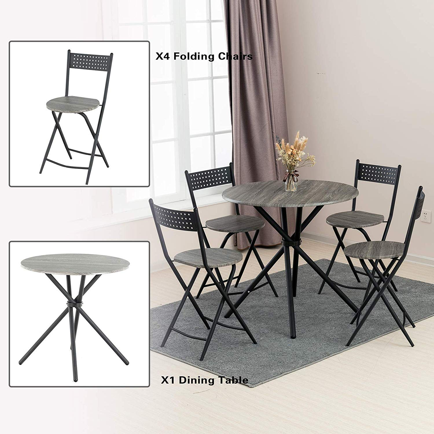 Mid Century Vintage Round Foldable Coffee Table And Chairs With Metal Frame For Kitchen Patio Dining Room Mecor 3 Pcs Foldable Dining Table And Chairs Set Talkingbread Co Il
