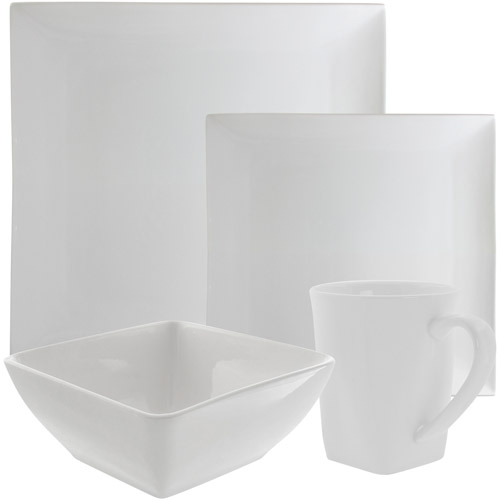 10 Strawberry Street Whittier Coupe Square 16-Piece Dinnerware Set, White by 10 Strawberry Street