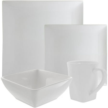 Coupe Square China Plate (10 Strawberry Street Whittier Coupe Square 16-Piece Dinnerware Set, White)