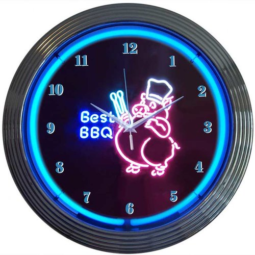 Neonetics Business Signs 15'' Best BBQ Wall Clock
