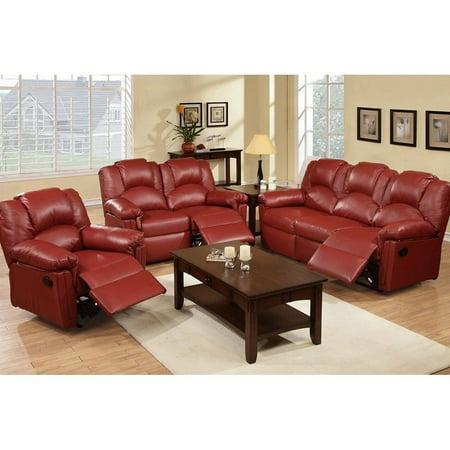 Pc Modern Burgundy Bonded Leather Sofa
