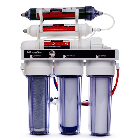 LiquaGen - Portable Reverse Osmosis Dual Use (Drinking + 0 TDS Aquarium Reef / Deionization) Water Filtration System - Made in USA