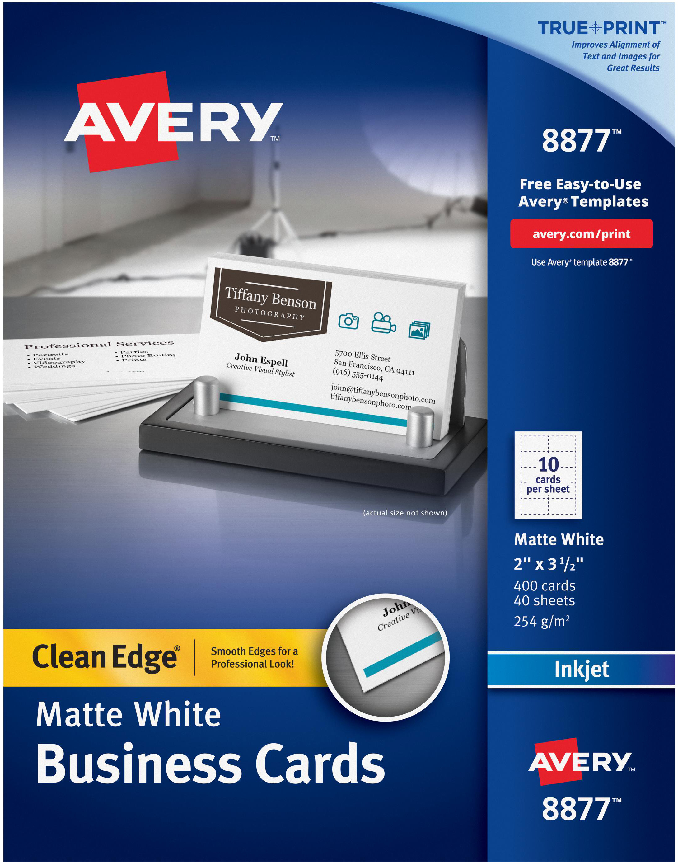 Avery matte white clean edge business cards 2x35 400pkg for avery matte white clean edge business cards 2x35 400pkg for inkjet printers reheart Image collections