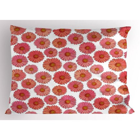Flourish Flower Essence - Aster Pillow Sham, Pink Blooms Flower Field Essence Fragrance Mother Nature Tropical Flourish, Decorative Standard Size Printed Pillowcase, 26 X 20 Inches, Pink Coral White, by Ambesonne