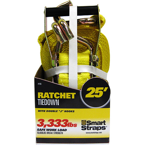 SmartStraps 25' 10,000 lbs. Double J Hook Ratchet, Yellow 1 Pack