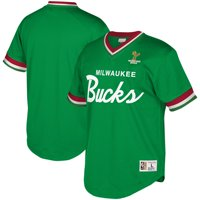 Milwaukee Bucks Mitchell & Ness Hardwood Classics Script Mesh V-Neck T-Shirt - Kelly Green