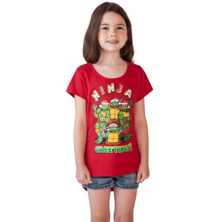 Girls Teenage Mutant Ninja Turtles Christmas T-Shirt Red for $<!---->