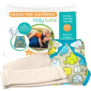 Tidy Tots Hassle Free 2 Diaper Trial Set with Elephants Cover