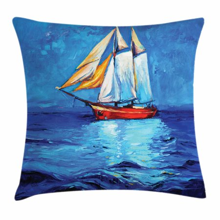 Ship Throw Pillow Cushion Cover, Oil Painting Style Sailship Frigate Floating on the Sea Modern Impressionism Artwork, Decorative Square Accent Pillow Case, 20 X 20 Inches, Multicolor, by Ambesonne