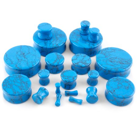 6mm Organic Body Jewelry Plugs - 2 Gauge (2G - 6mm) Howlite Turquoise Stone Plugs / Gauges (1 pair)