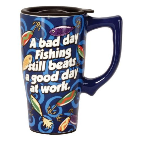 Spoontiques Fishing Travel Mug, Blue