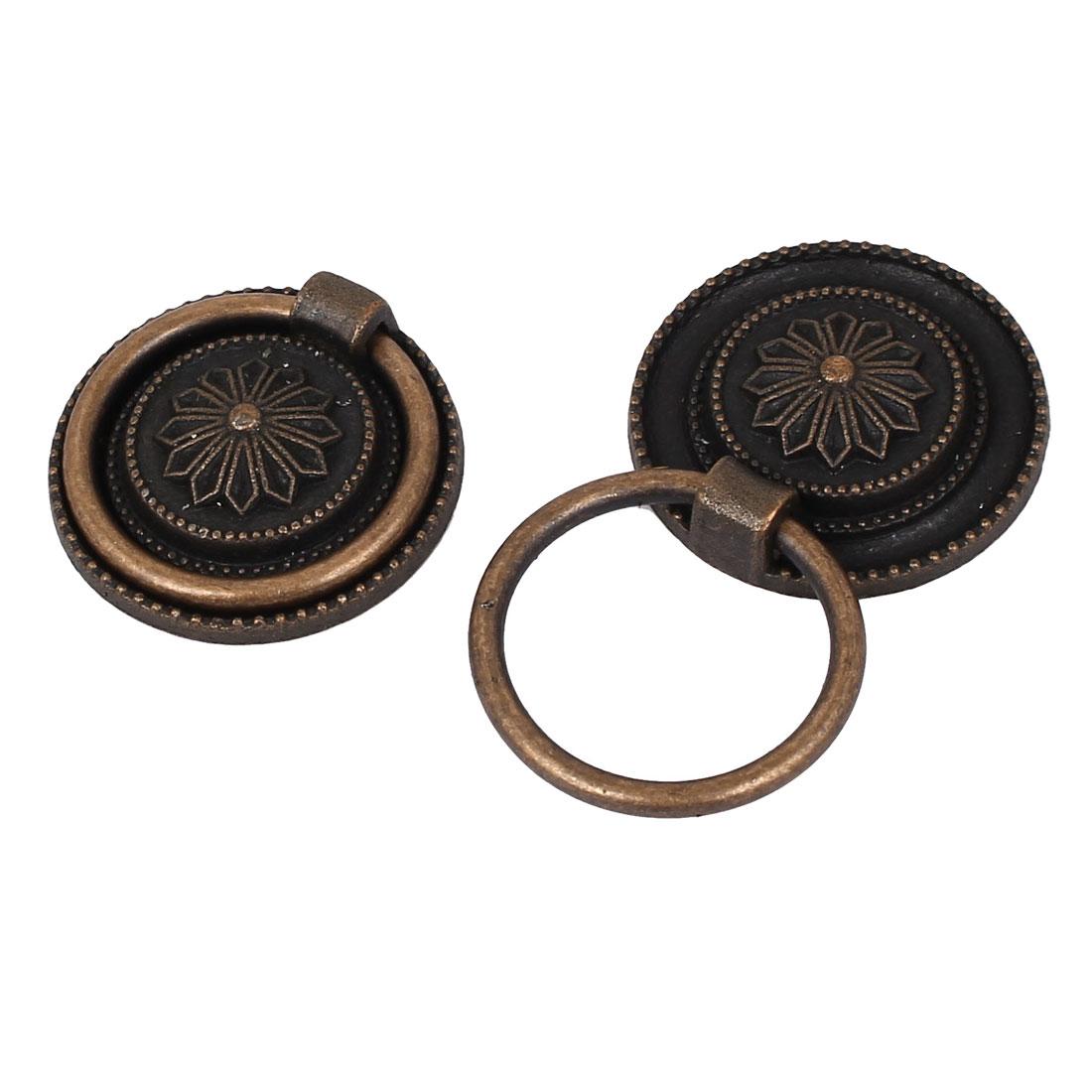 Cabinet Drawer Door Metal 3cm Diameter Round Ring Pull Handles 2pcs