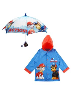 Kids Umbrella and Slicker Set, Paw Patrol Rainwear Set for Little Boys Ages 4-5