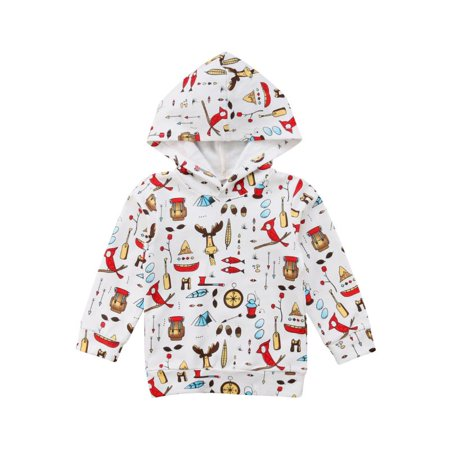 Baby Boys Girls Hoodie Outfits Print Long Sleeve Pullover Sweatshirts Tops Winter Clothes