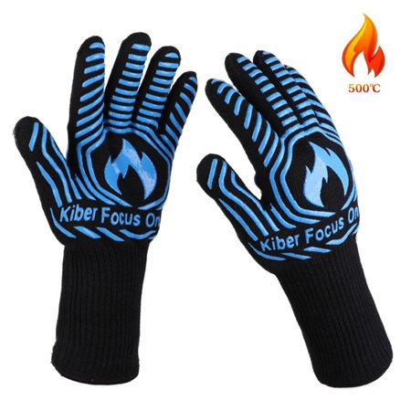 932℉ Extreme Heat Resistant BBQ Gloves, Food Grade Kitchen Oven Mitts - Flexible Oven Gloves with Cut Resistant, Silicone Non-slip Cooking Hot Glove for Grilling, Cutting, Baking, Welding (1