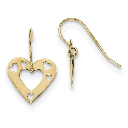 14k Yellow Gold Cut Out Heart Drop Dangle Chandelier Earrings Love Gifts For Women For Her
