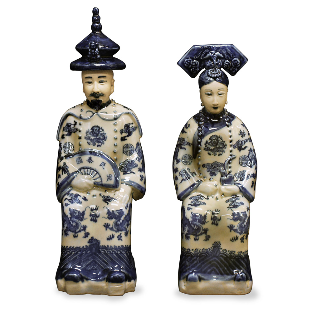 China Furniture and Arts Chinese Emperor and Empress Blue...