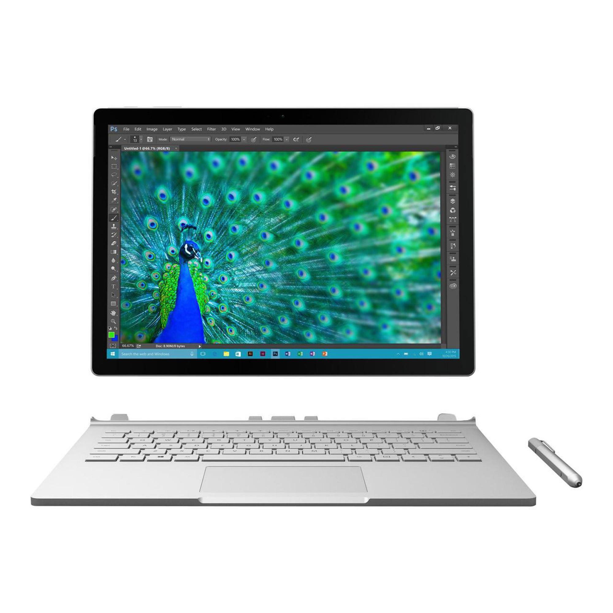 Microsoft 9ER-00001 Surface Book, 8GB Memory, 256GB HDD, Intel Core i7-6600U, NVIDIA GeForce graphics, Silver, Windows 10 Professional