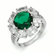 Cheryl M Sterling Silver CZ and Glass Simulated Emerald Ring Size 6