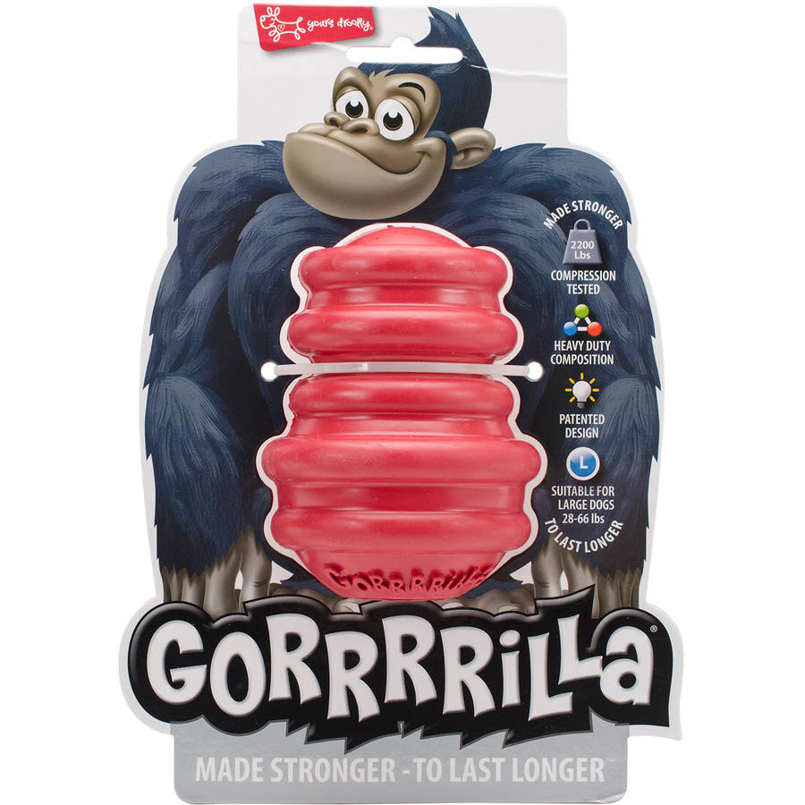 "Multipet Gorrrrilla Tough Rubber Treat Toy, 4.5"", Red"