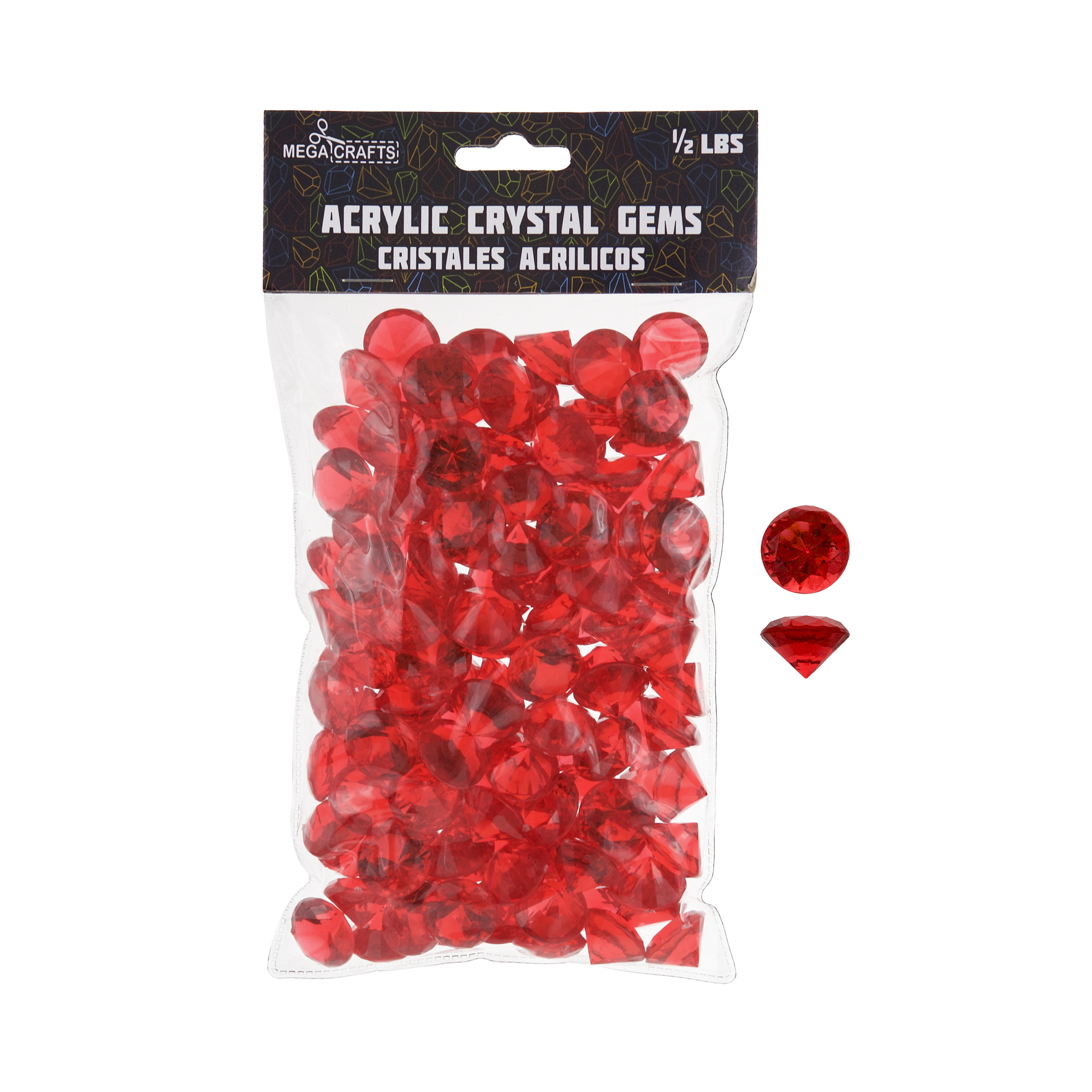 Mega Crafts - 1/2 lb Acrylic Small Diamonds Red | Plastic Glass Gems For Arts And Crafts, Vase Fillers And Table Scatters, Decoration Stones, Shiny Pebbles