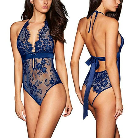 Backless Teddie - Women Sexy Lingerie See-through Backless Lace Babydoll Open Crotch Teddy Underwear