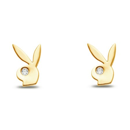 14k Yellow Gold CZ Cubic Zirconia Bunny Rabbit Earrings 14k Yellow Gold Bunny