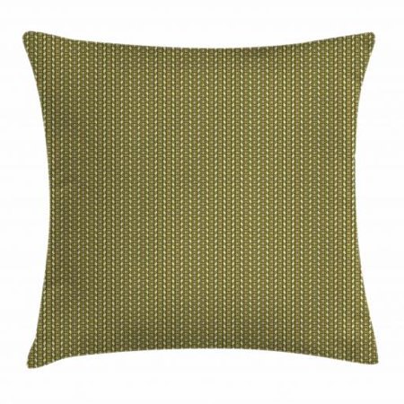 Vintage Throw Pillow Cushion Cover, Geometrical Simple Exotic Vertical Borders with Stripes and Zigzag, Decorative Square Accent Pillow Case, 16 X 16 Inches, Pistachio Green and Brown, by Ambesonne