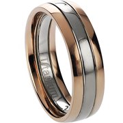 Men's Titanium Two-Toned Rose Gold-Toned Ring