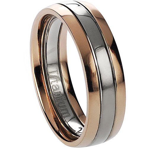 Daxx Men's Titanium Two-Toned Rose Gold-Toned Ring