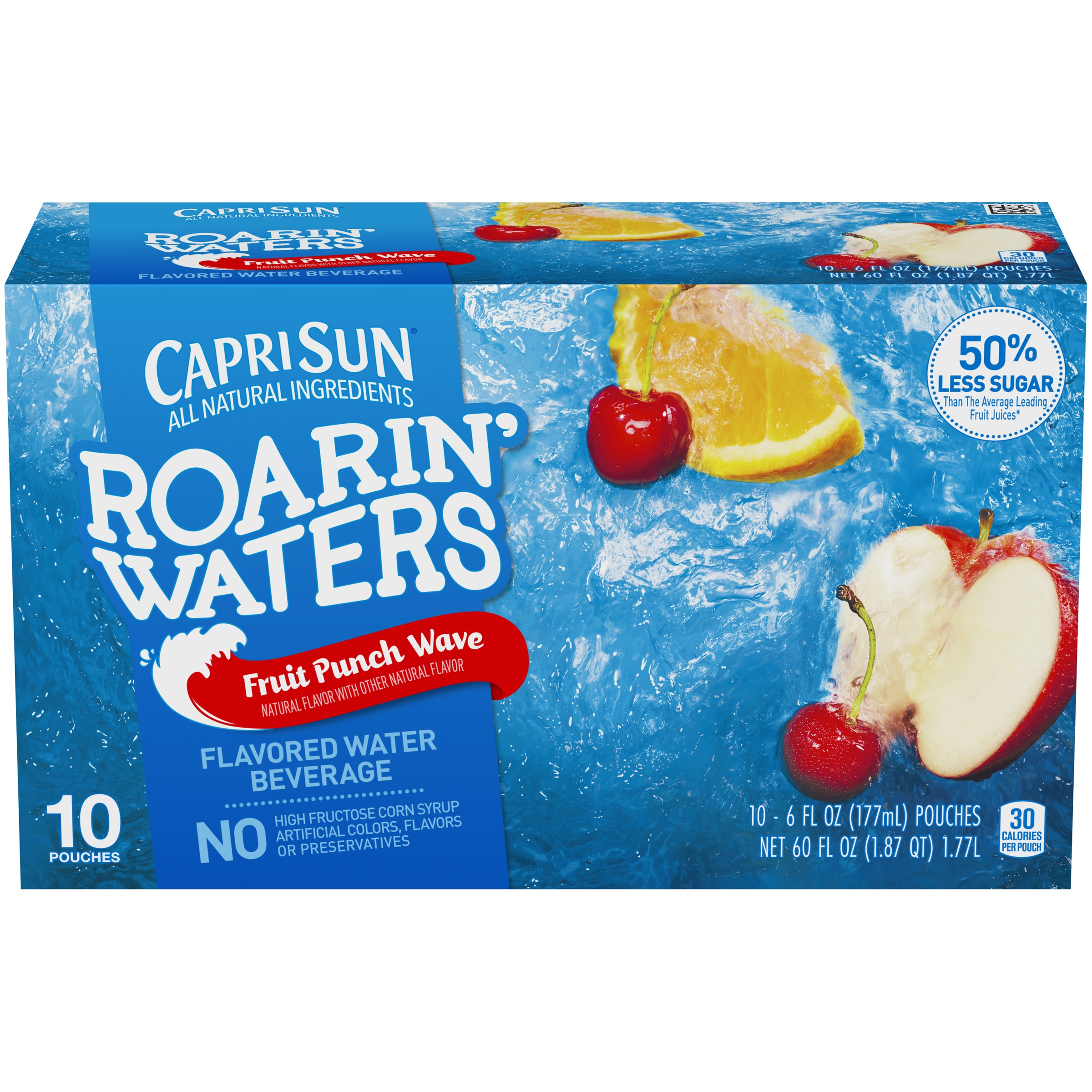 Capri Sun Roarin' Waters Fruit Punch Wave Flavored Water Beverage 10-6 fl. oz. Pouches