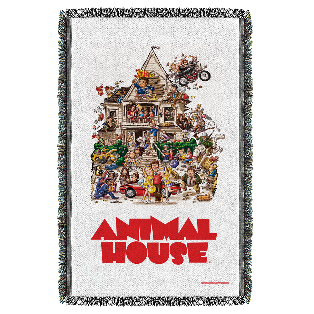 Animal House Poster Woven Throw Blanket White One Size