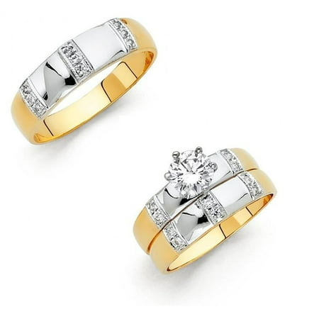 14k Two Tone Gold 3 Row Prong Setting 1.30 ctw CZ Promise Engagement Bridal Ring Trio Set Matching His & Her