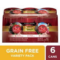 (6 Pack) Purina ONE Grain Free, Natural Pate Wet Dog Food Variety Pack, SmartBlend True Instinct, 13 oz. Cans