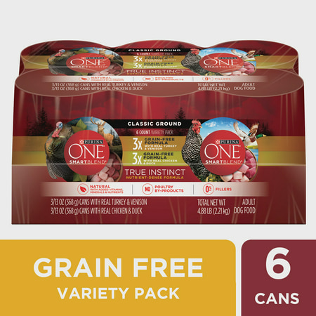 Purina ONE Grain Free, Natural Pate Wet Dog Food Variety Pack, SmartBlend True Instinct -13 oz. 6-pack (Purina One Grain Free Dog Food)