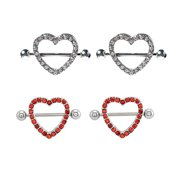 Nipple Shields Heart  Surgical Steel With Red And Clear Gem 2 pairs