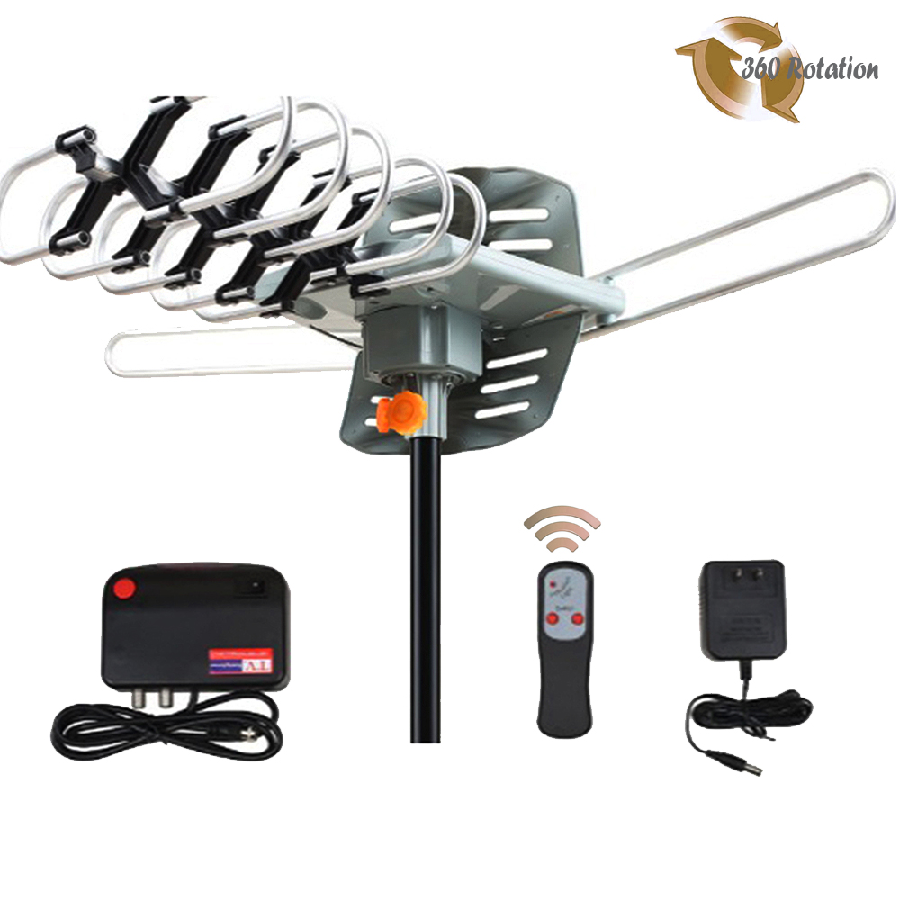 Leadzm HDTV Outdoor TV Antenna with 150-Mile Range Amplified High Gain 360 UHF VHF
