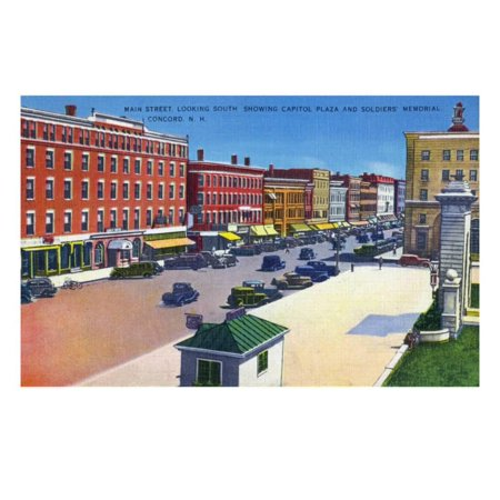 Concord, New Hampshire, Southern View Down Main Street, Capitol Plaza Print Wall Art By Lantern Press