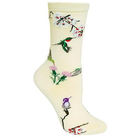 Wheel House Designs - Hummingbirds on Natural Socks - 9-11 (Garden Birds Socks)
