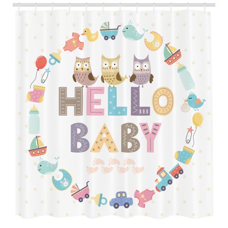 Baby Shower Shower Curtain Hello Baby Quote With Kids