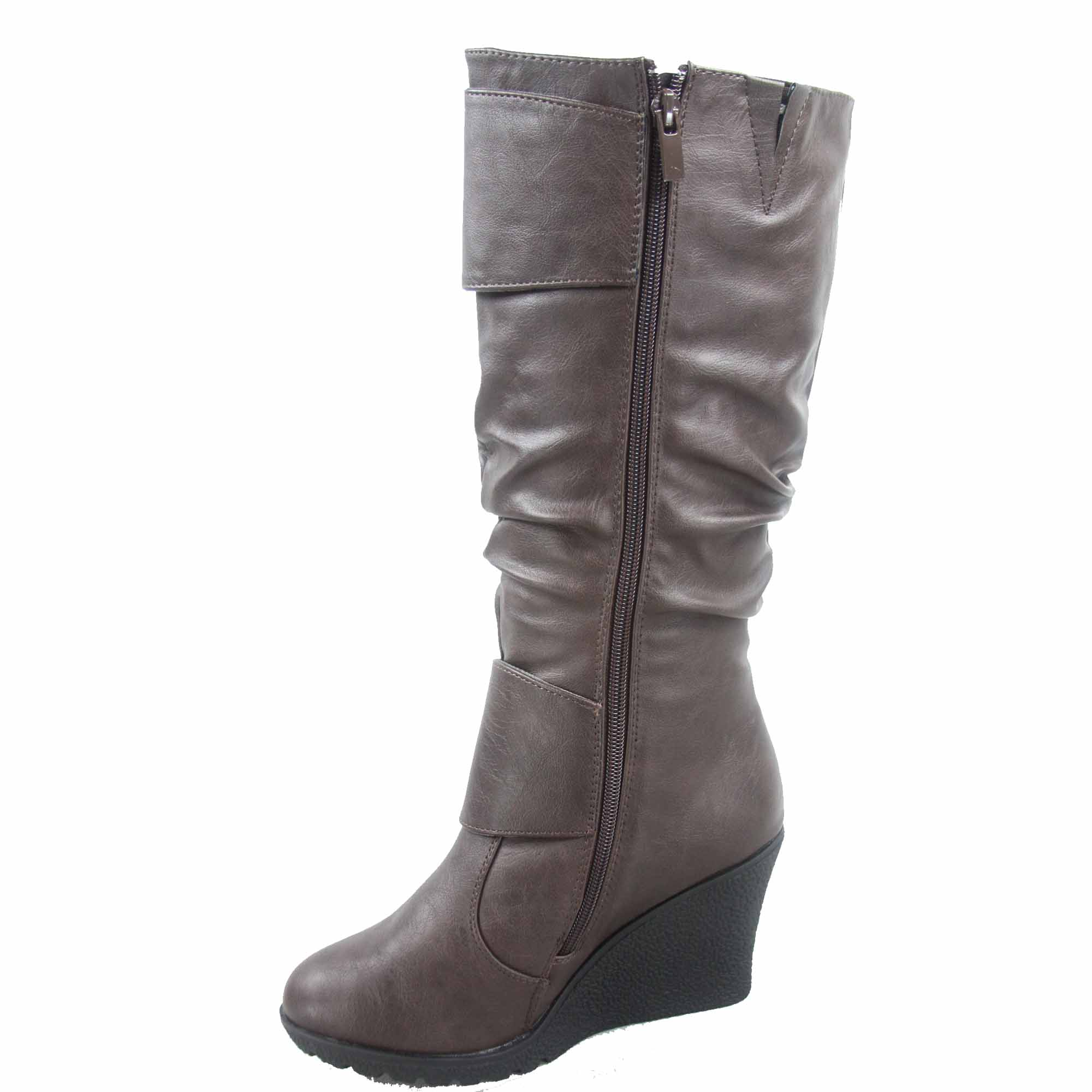 f8290905a044 Top Moda - Pure-65 Women s Fashion Round Toe Slouch Large Buckle Wedge Mid  Calf Boot Shoes - Walmart.com