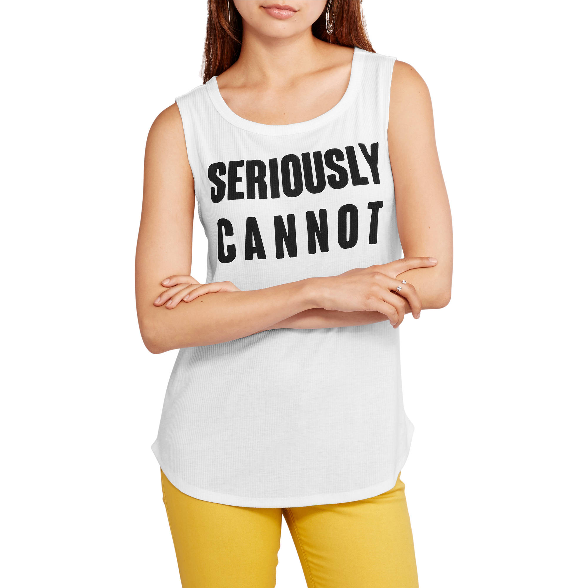 "Juniors' ""Seriously Cannot"" Graphic Muscle Tank"