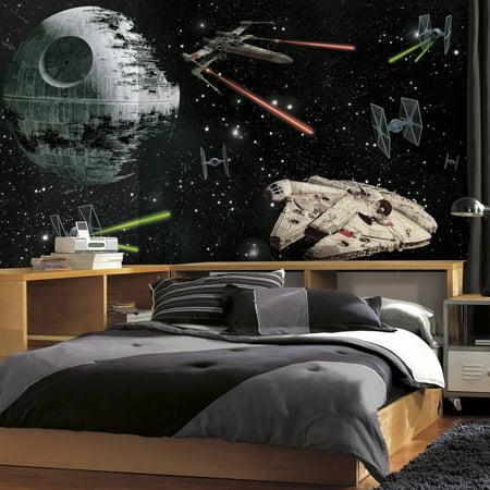 Star Wars Chair (RoomMates Star Wars Vehicles XL Chair Rail Prepasted Mural, 6' x 10.5',)