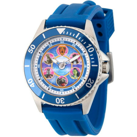 Guardians of the Galaxy Men's Honor Silver Stainless Steel Watch, Blue Bezel, Blue Rubber Strap