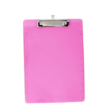 Unique Bargains Office School A4 Paper File Note Holder Clamp Clip Board Hardboard Clear Fuchsia - Clap Boards