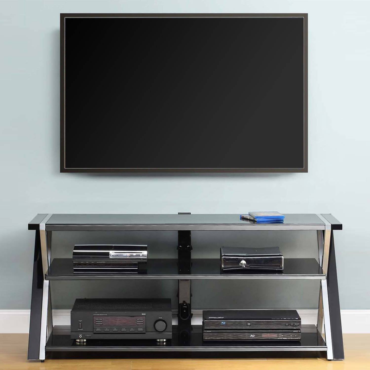 Whalen Black Tv Stand For 65 Flat Panel Tvs With Tempered Glass