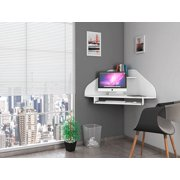 Manhattan Comfort Bradley Floating Corner Desk with Keyboard Shelf in White