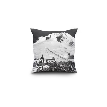 Mount Hood, Oregon - Aerial View of Timberline Lodge and Ski Lift - Vintage Photograph (16x16 Spun Polyester Pillow, Square) (Mount Hood Timberline)