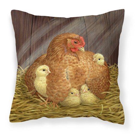 Carolines Treasures My Little Chickadees Hen with Chicks Canvas Decorative Outdoor - Chickadee Chick